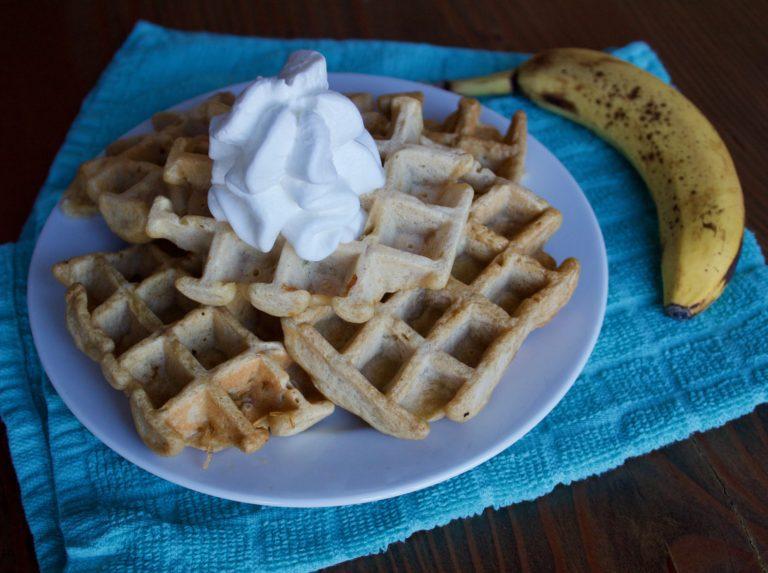 Healthy Banana Bread Waffles