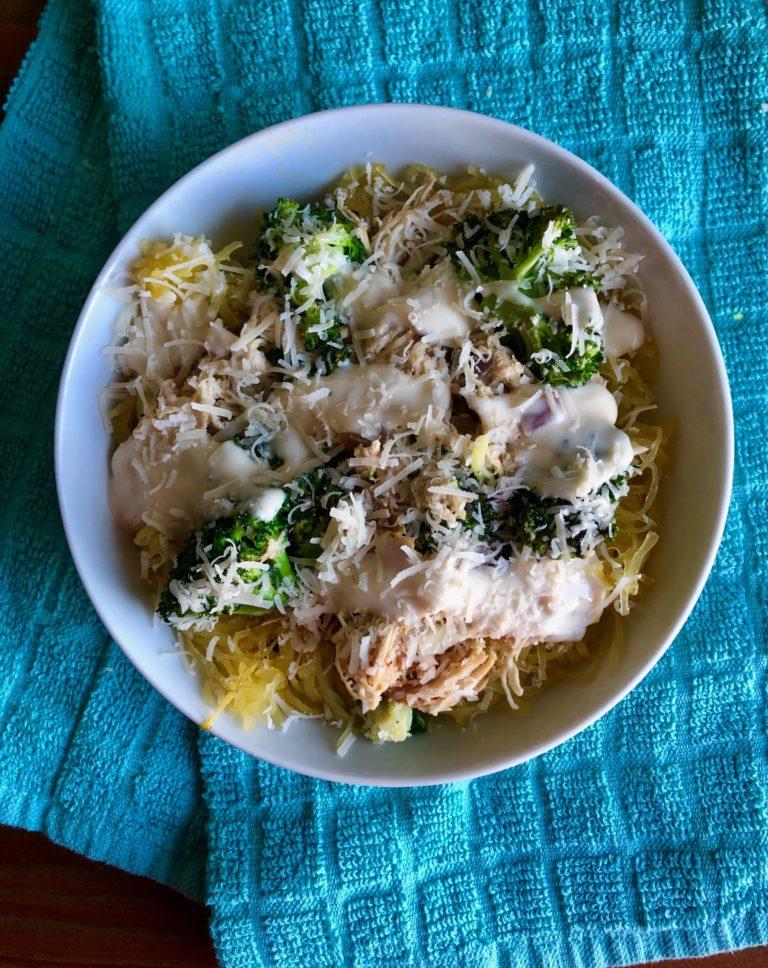 Easy Healthy Chicken Alfredo Spaghetti Squash