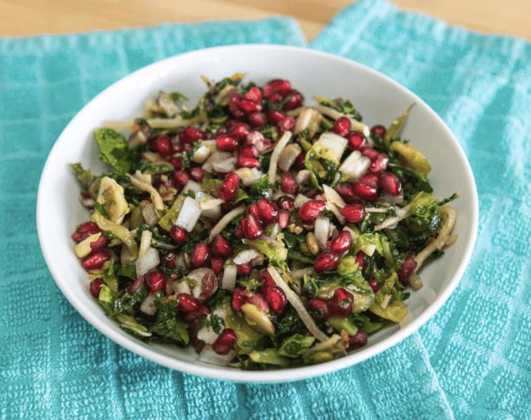 Pomegranate Brussel Sprout Kale Salad