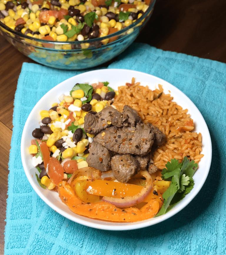 Steak Fajita Rice Bowl with Corn Salsa
